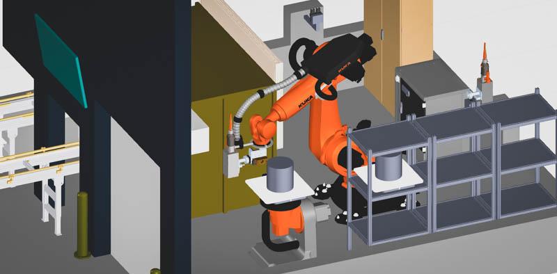 Layout für Roboterlaseranlage